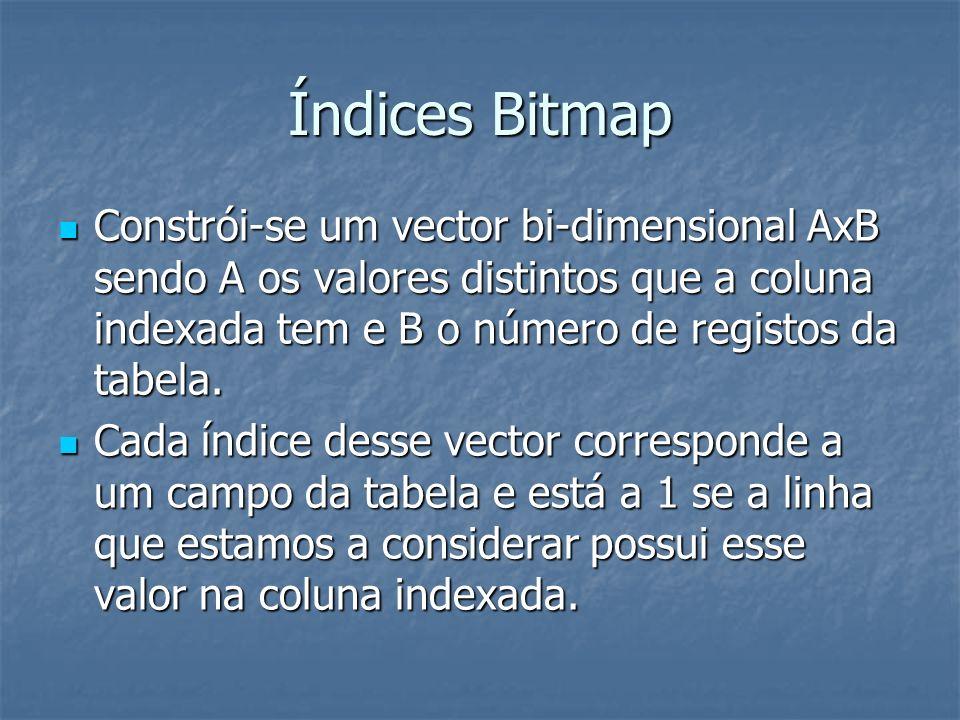 Índices Bitmap Constrói-se um vector bi-dimensional AxB sendo A os valores distintos que a coluna indexada tem e B o número de registos da tabela.