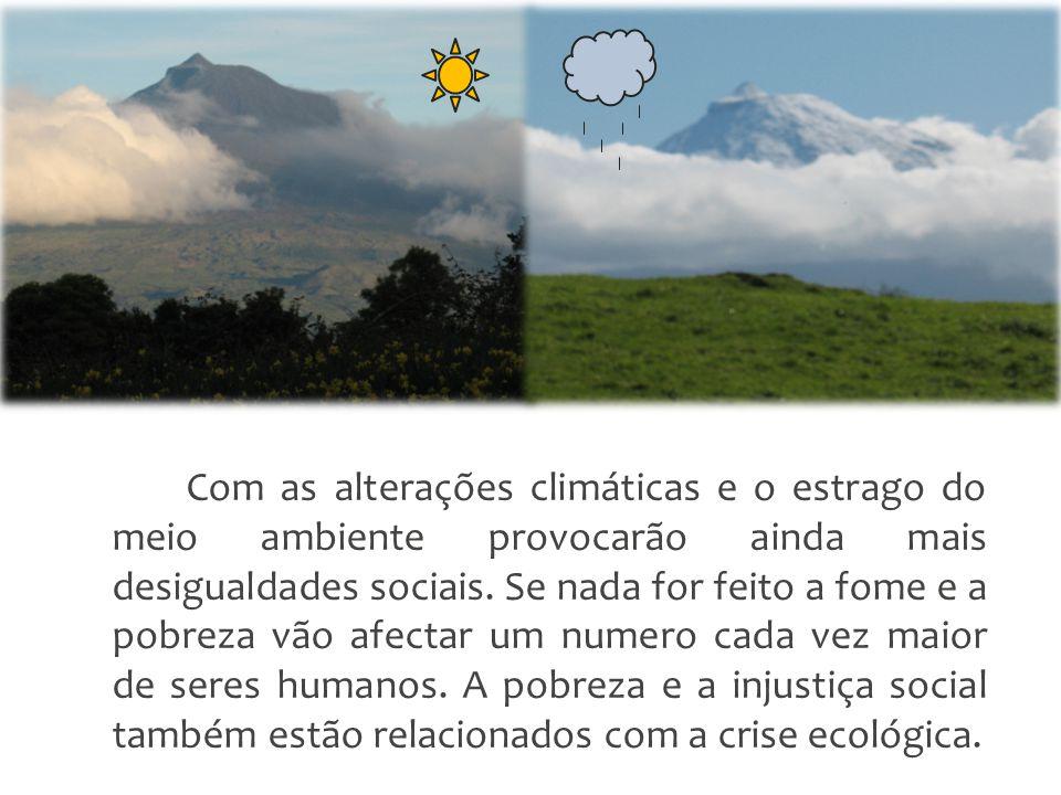 Com as alterações climáticas e o estrago do meio ambiente provocarão ainda mais desigualdades sociais.