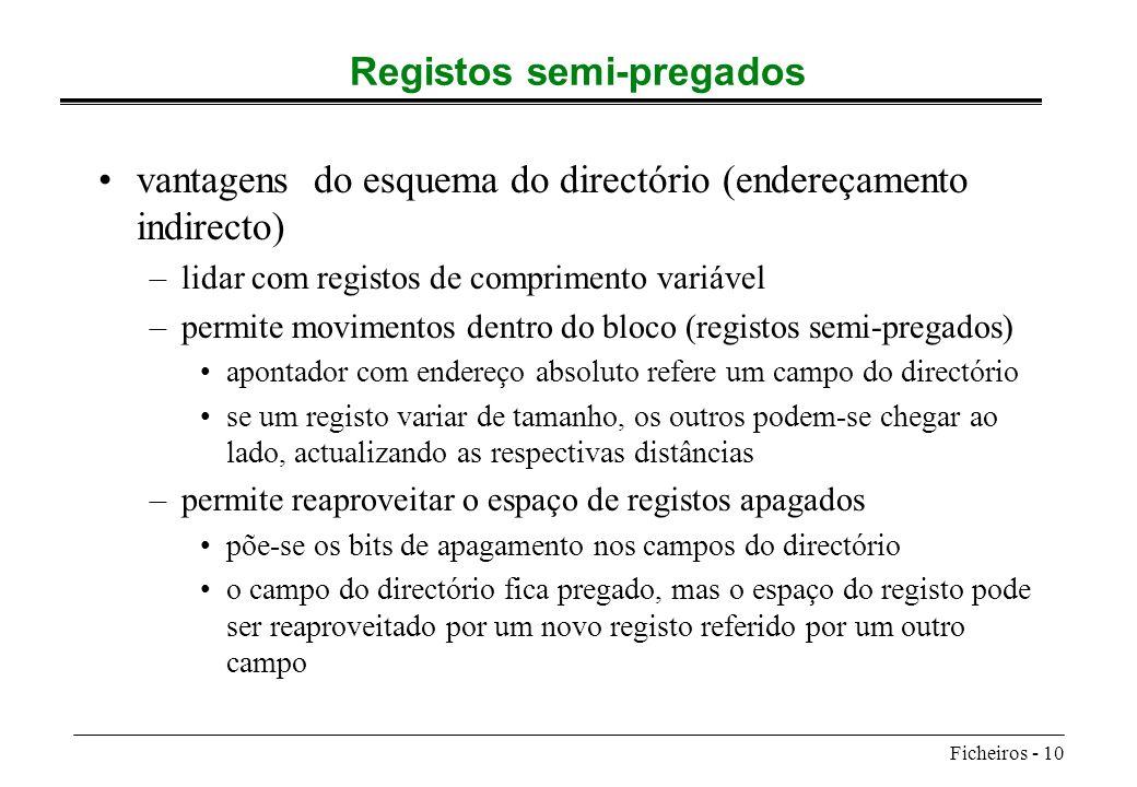 Registos semi-pregados