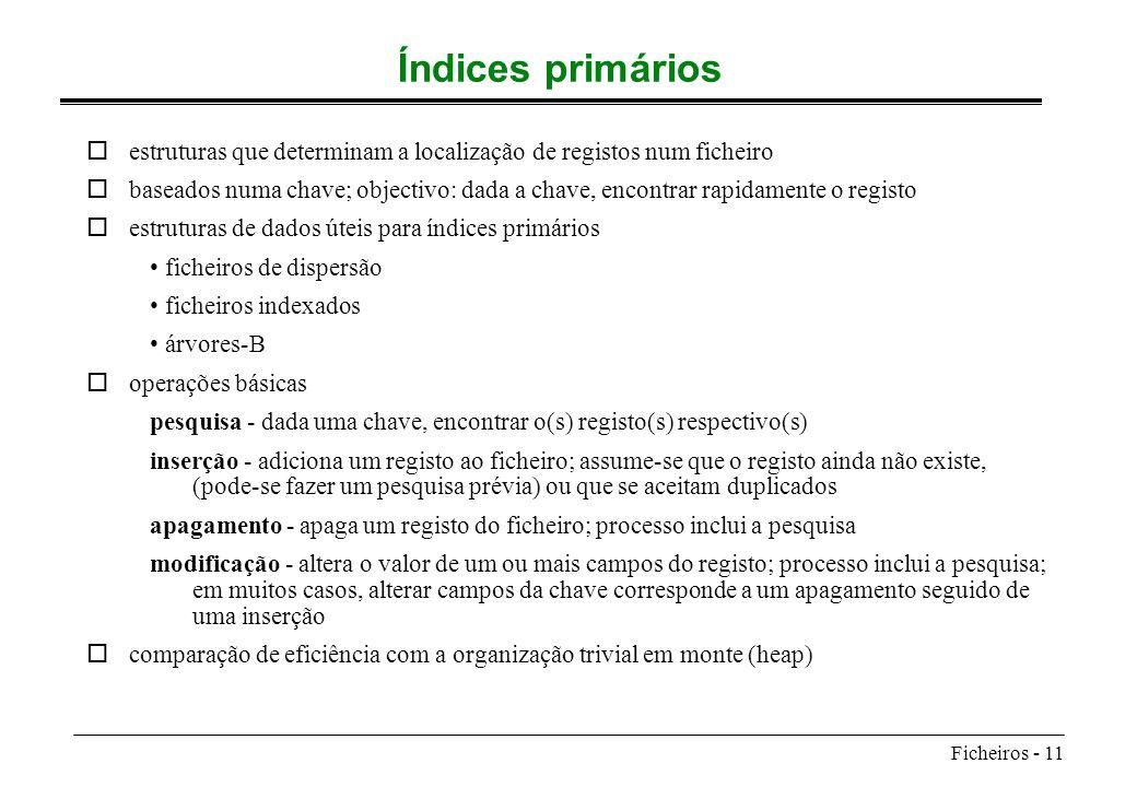 Índices primários estruturas que determinam a localização de registos num ficheiro.