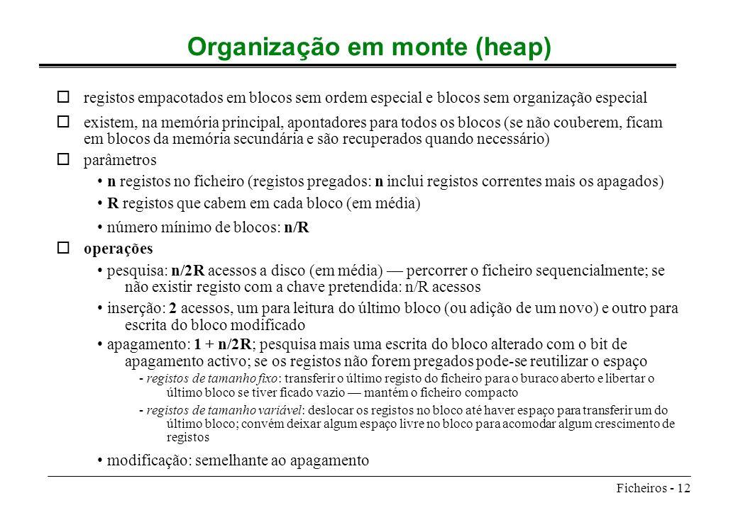Organização em monte (heap)