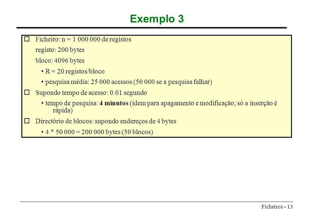 Exemplo 3 Ficheiro: n = 1 000 000 de registos registo: 200 bytes