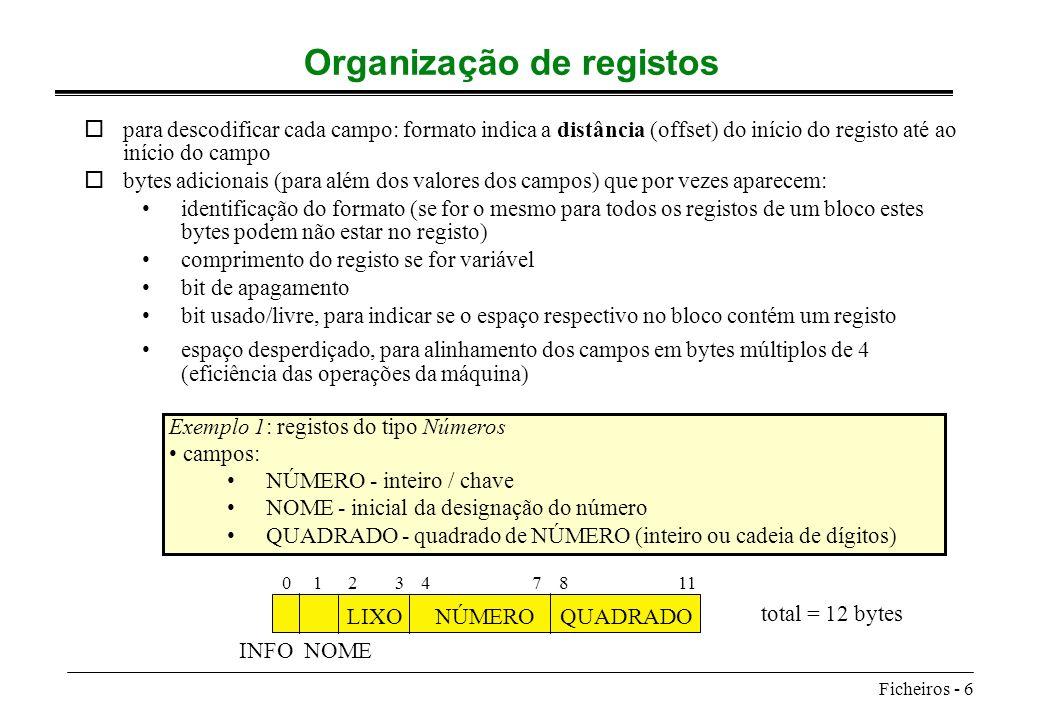 Organização de registos