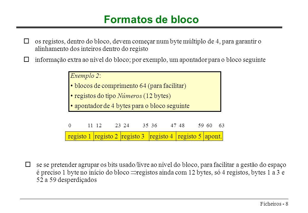 Formatos de bloco os registos, dentro do bloco, devem começar num byte múltiplo de 4, para garantir o alinhamento dos inteiros dentro do registo.