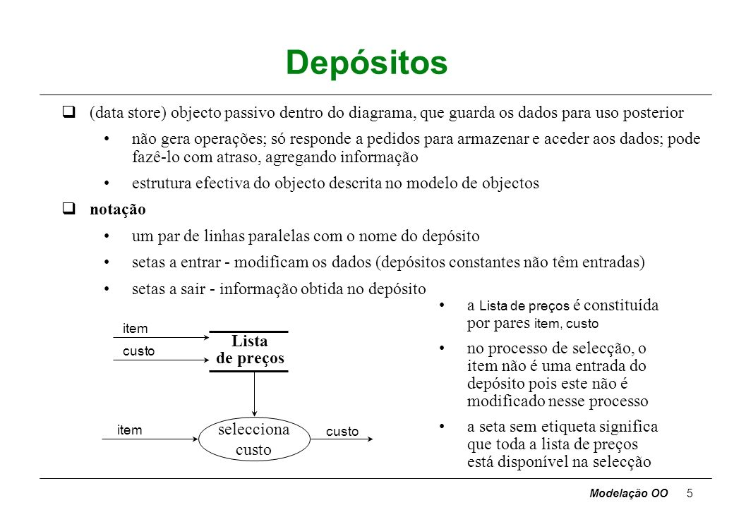 Depósitos (data store) objecto passivo dentro do diagrama, que guarda os dados para uso posterior.