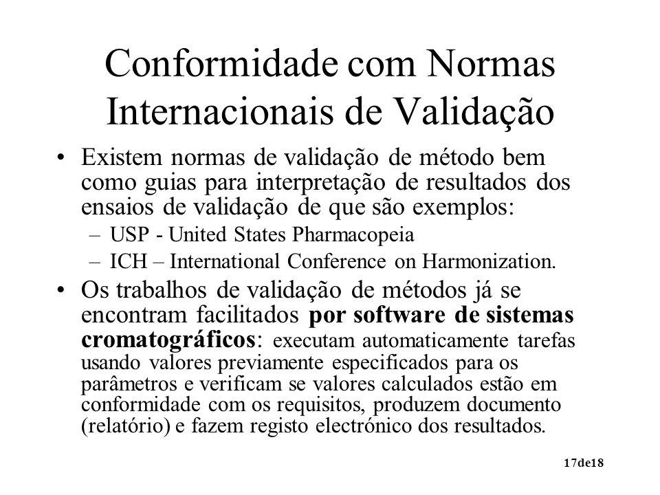 Conformidade com Normas Internacionais de Validação