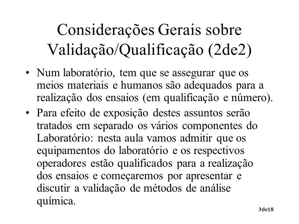Considerações Gerais sobre Validação/Qualificação (2de2)