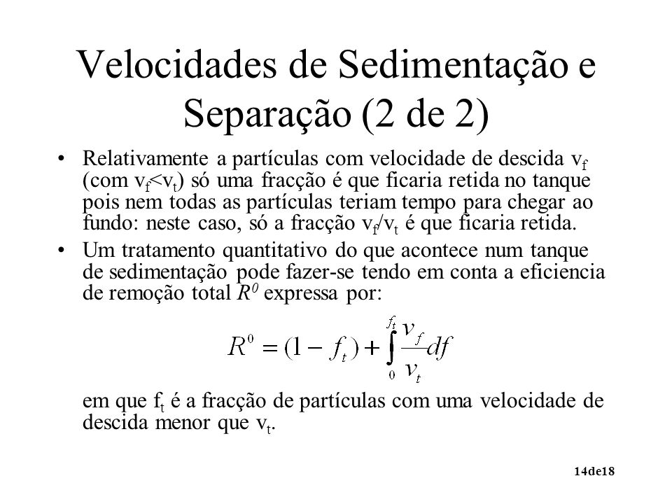 Velocidades de Sedimentação e Separação (2 de 2)