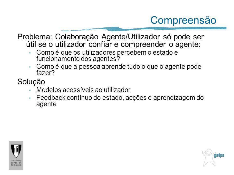 Compreensão Problema: Colaboração Agente/Utilizador só pode ser útil se o utilizador confiar e compreender o agente: