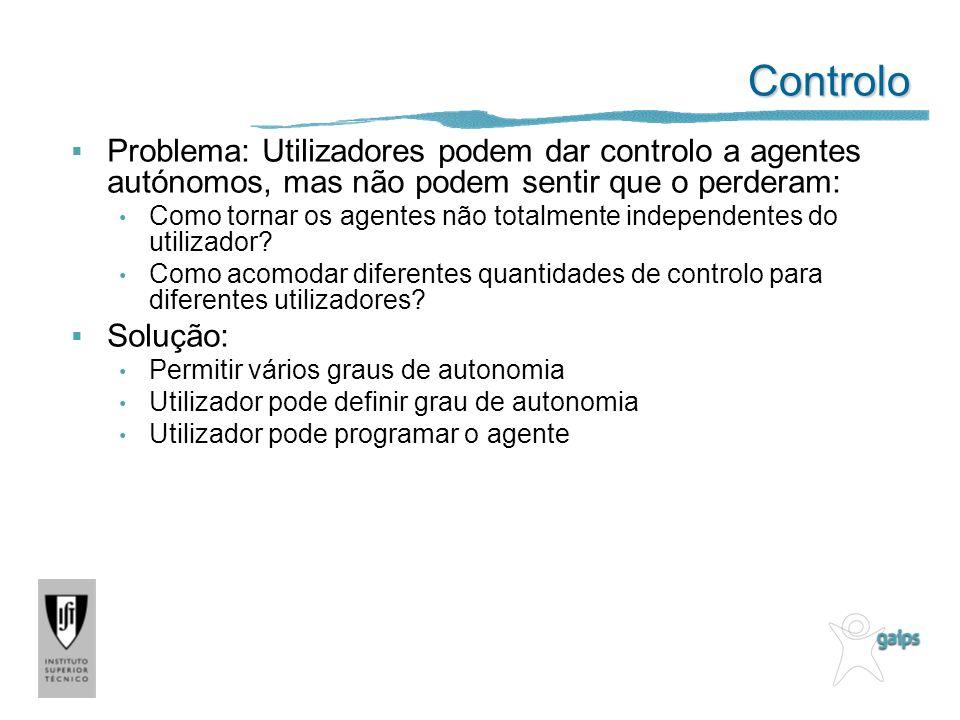 Controlo Problema: Utilizadores podem dar controlo a agentes autónomos, mas não podem sentir que o perderam: