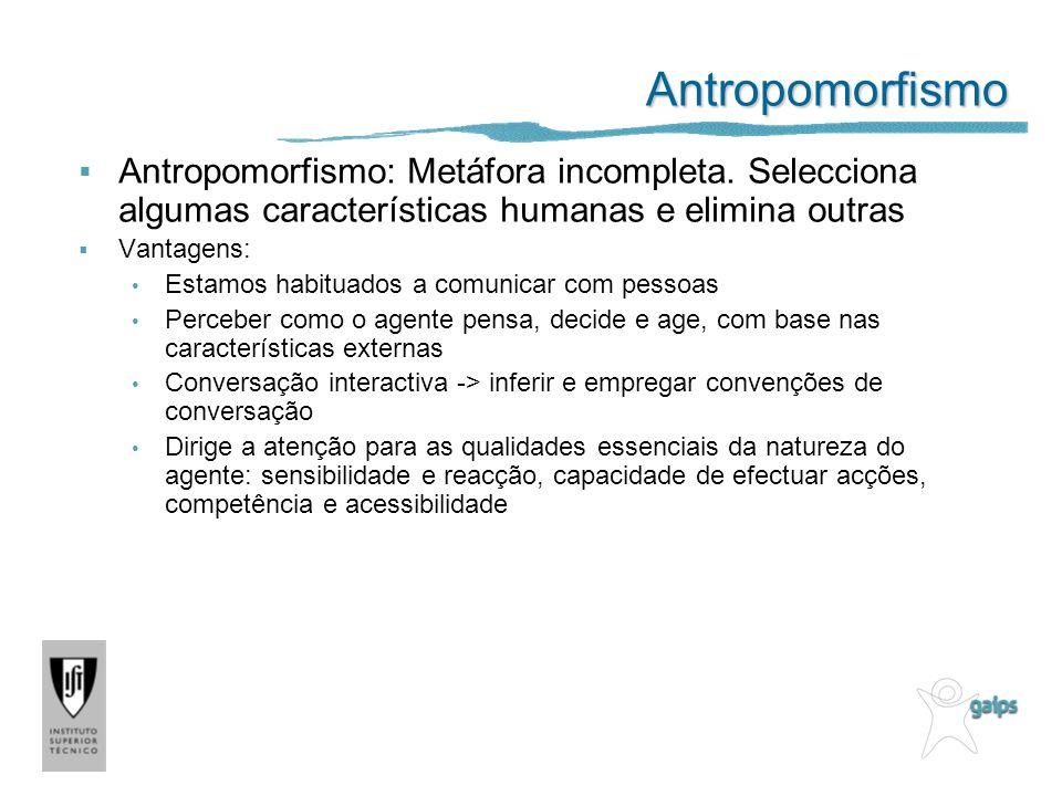 Antropomorfismo Antropomorfismo: Metáfora incompleta. Selecciona algumas características humanas e elimina outras.