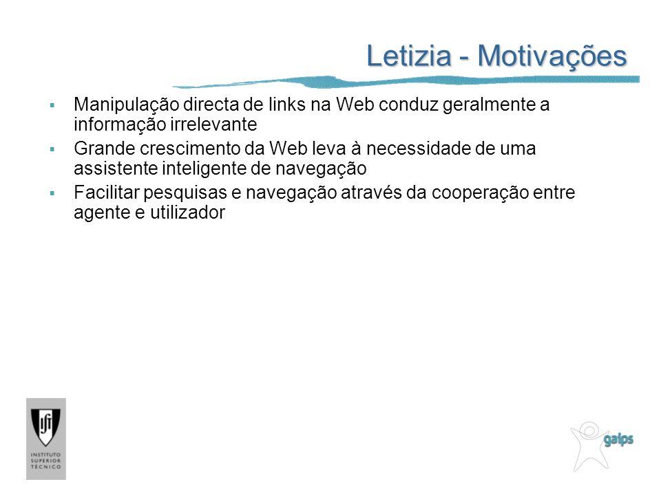 Letizia - Motivações Manipulação directa de links na Web conduz geralmente a informação irrelevante.