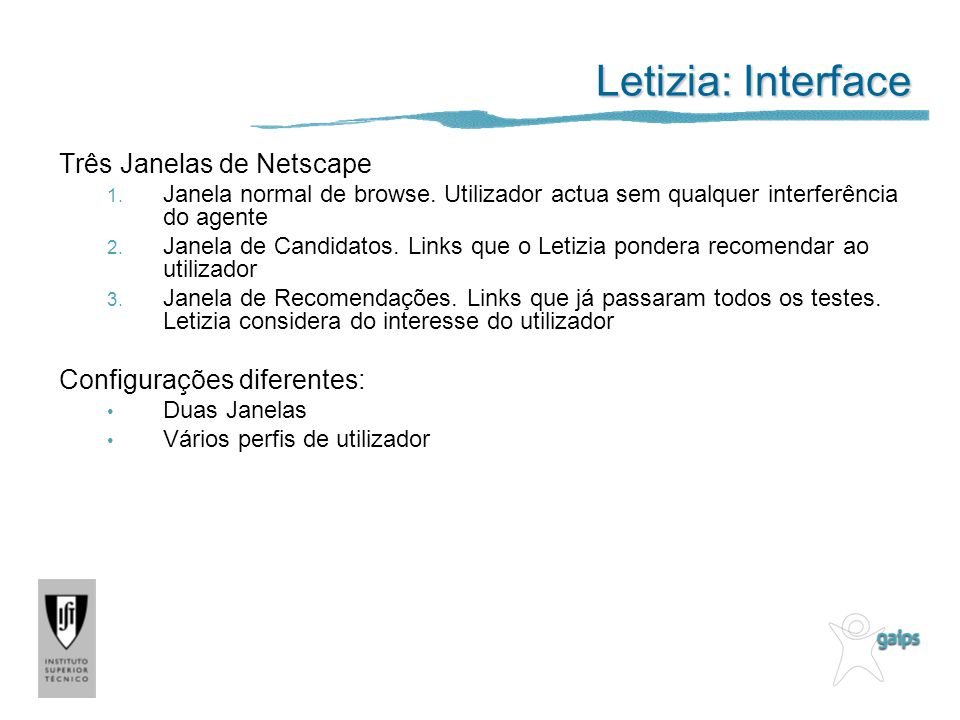 Letizia: Interface Três Janelas de Netscape Configurações diferentes: