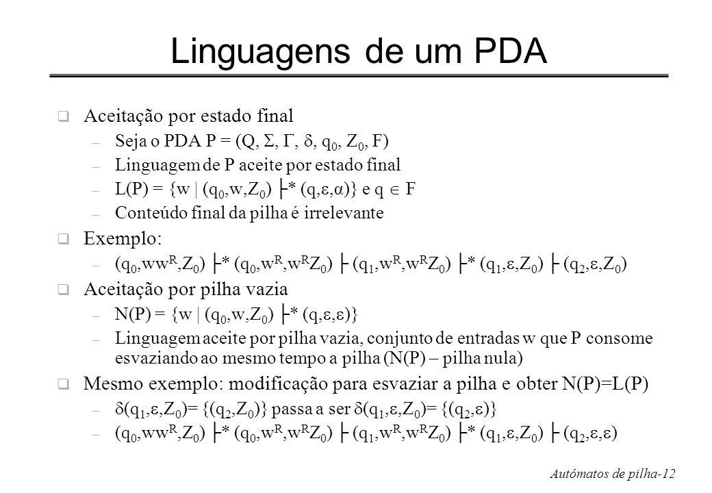 Linguagens de um PDA Aceitação por estado final Exemplo: