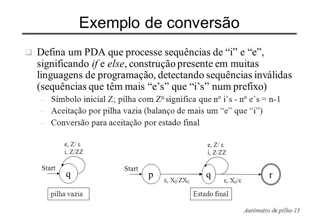 Exemplo de conversão