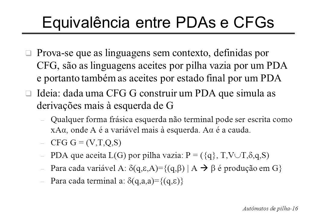 Equivalência entre PDAs e CFGs