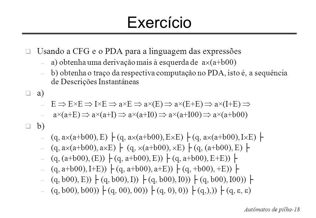 Exercício Usando a CFG e o PDA para a linguagem das expressões a) b)