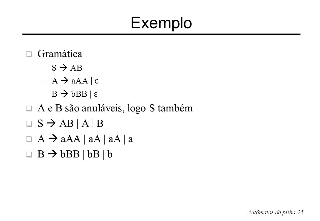 Exemplo Gramática A e B são anuláveis, logo S também S  AB | A | B