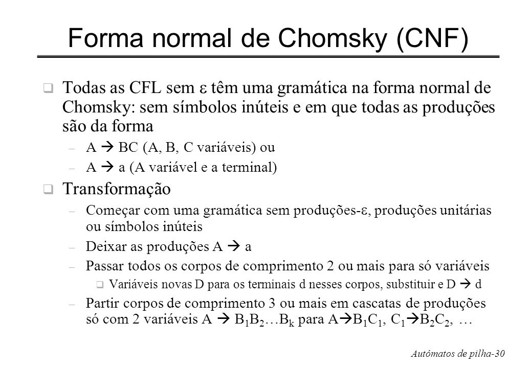 Forma normal de Chomsky (CNF)