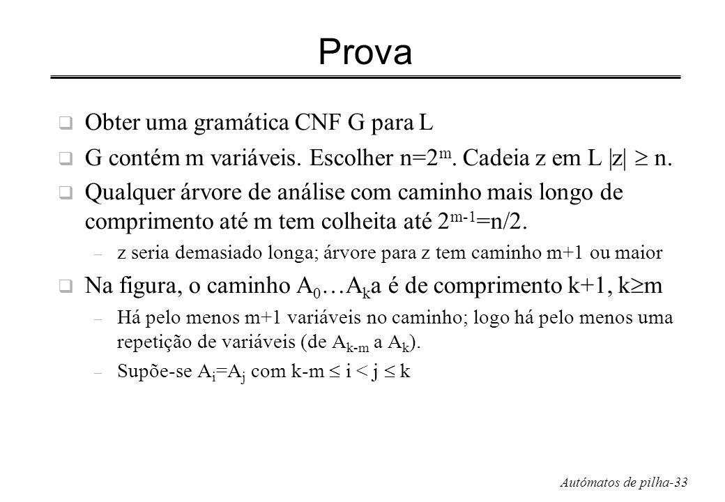 Prova Obter uma gramática CNF G para L