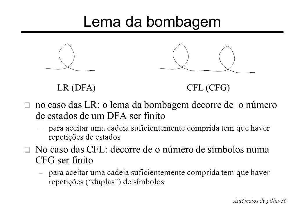 Lema da bombagem LR (DFA) CFL (CFG) no caso das LR: o lema da bombagem decorre de o número de estados de um DFA ser finito.