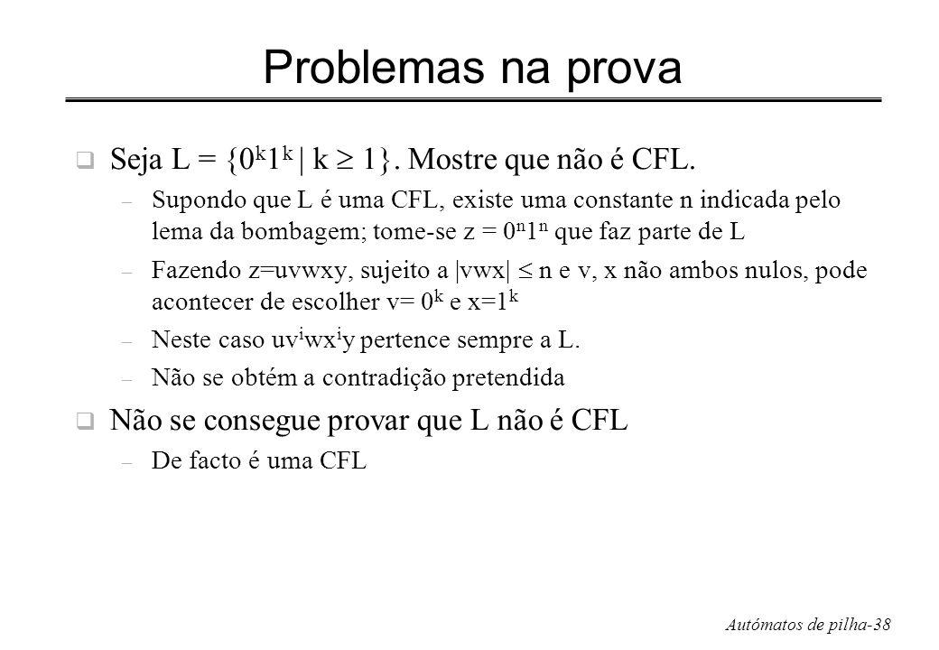 Problemas na prova Seja L = {0k1k | k  1}. Mostre que não é CFL.