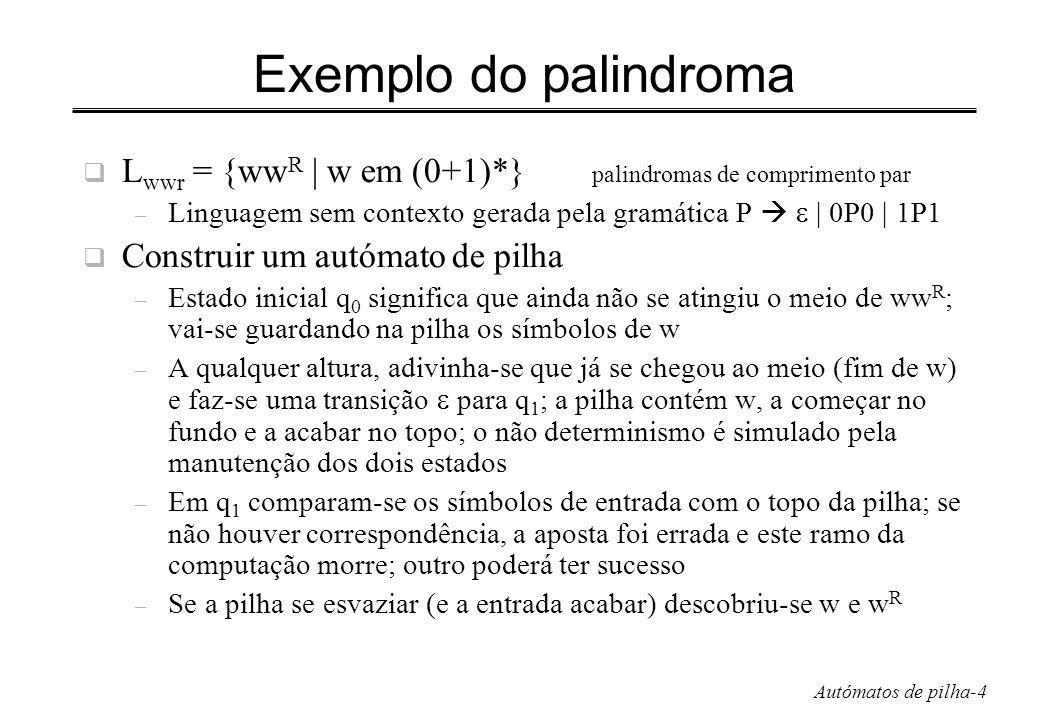Exemplo do palindroma Lwwr = {wwR | w em (0+1)*} palindromas de comprimento par.