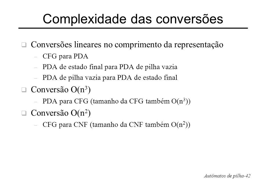 Complexidade das conversões