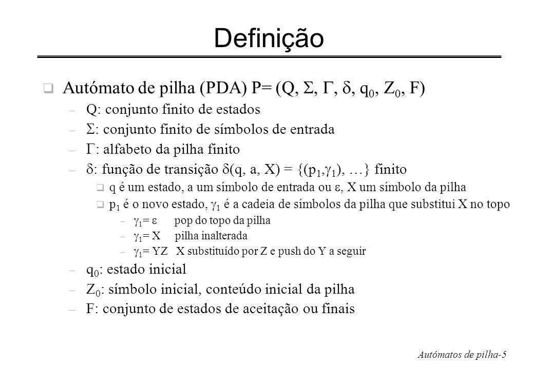 Definição Autómato de pilha (PDA) P= (Q, , , , q0, Z0, F)