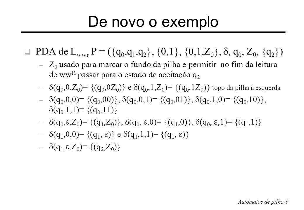 De novo o exemplo PDA de Lwwr P = ({q0,q1,q2}, {0,1}, {0,1,Z0}, , q0, Z0, {q2})