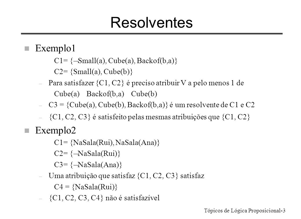Resolventes Exemplo1 Exemplo2 C1= {ØSmall(a), Cube(a), Backof(b,a)}