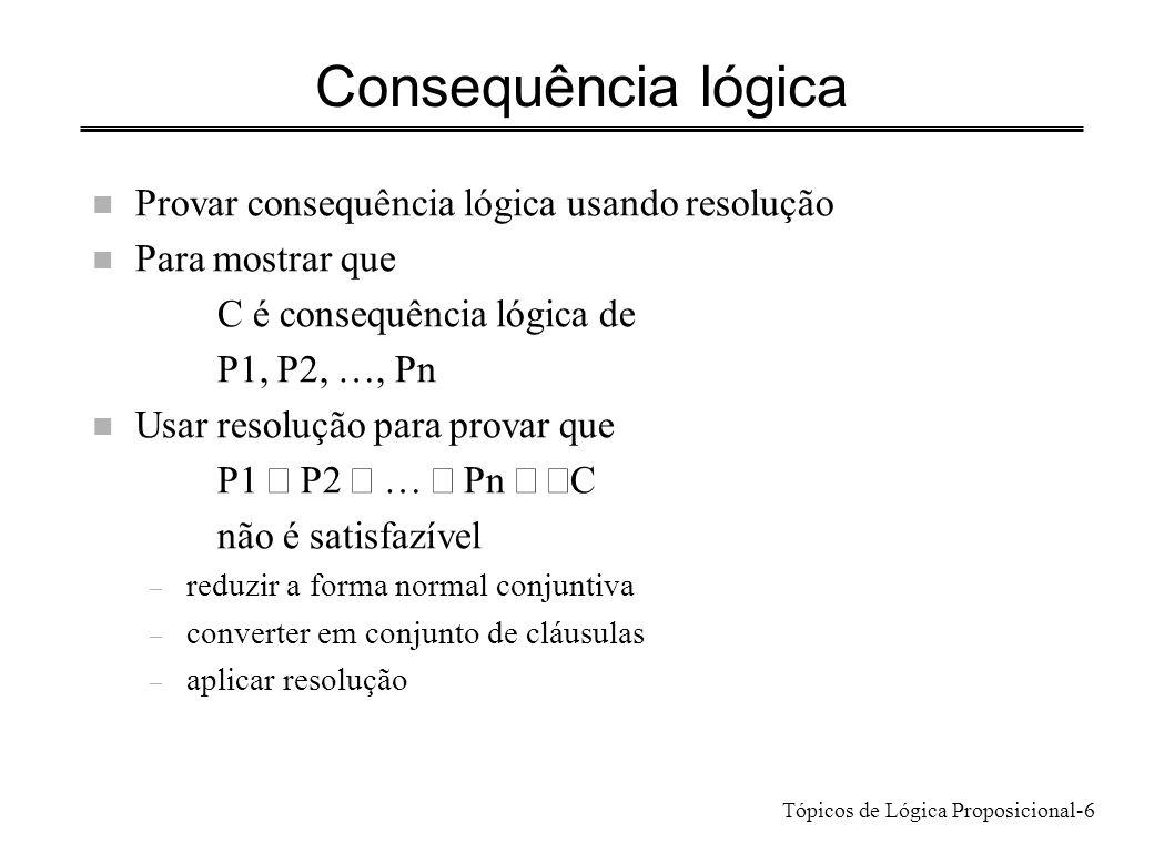 Consequência lógica Provar consequência lógica usando resolução