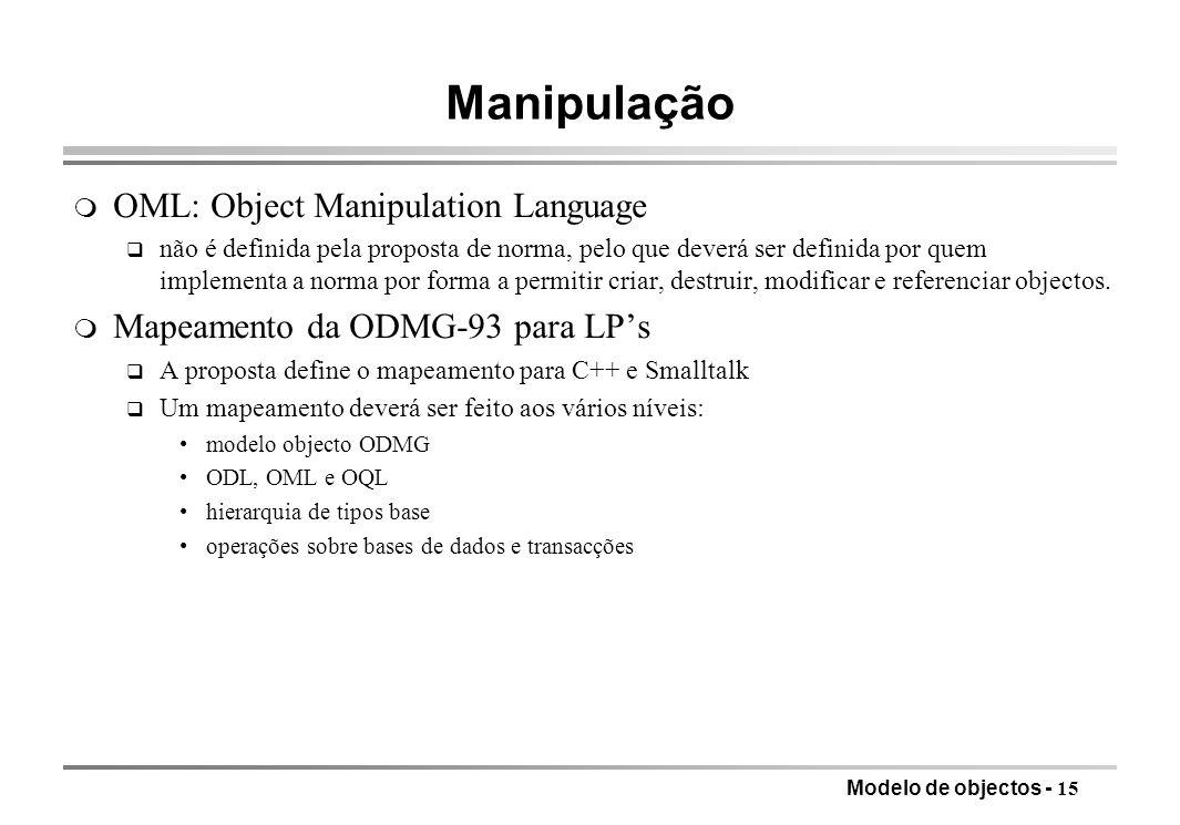 Manipulação OML: Object Manipulation Language