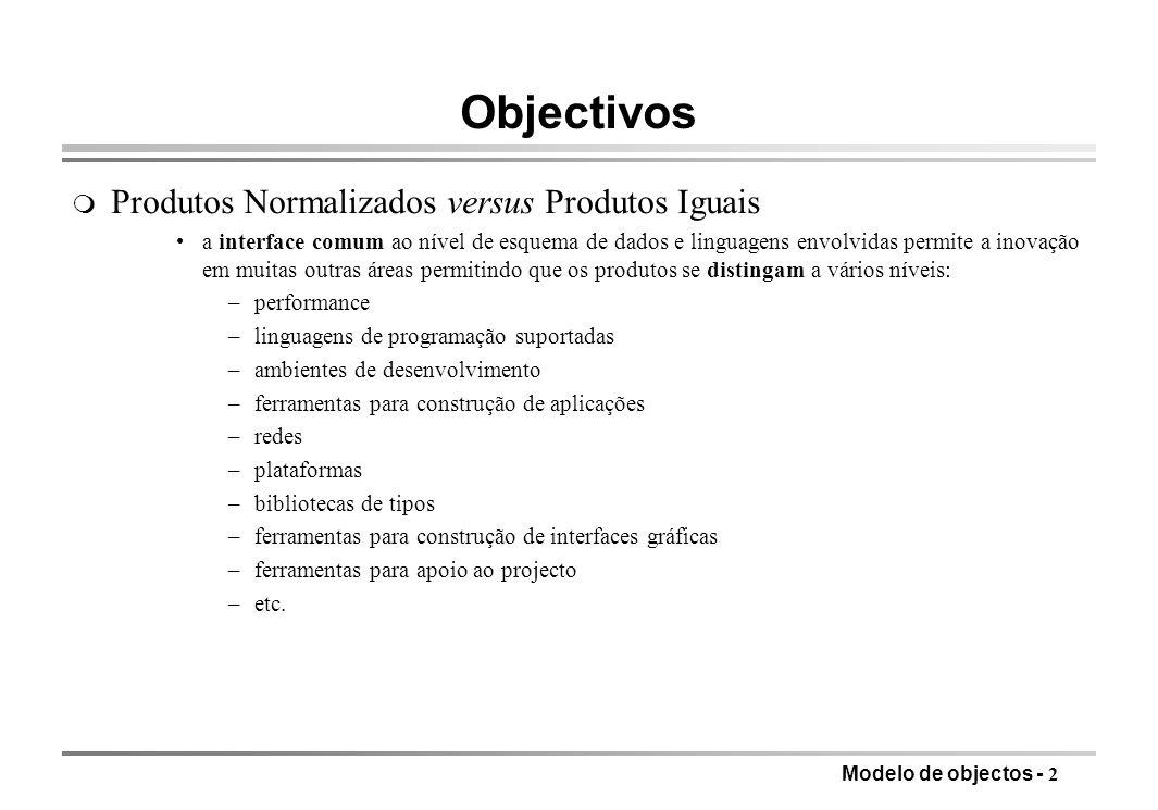 Objectivos Produtos Normalizados versus Produtos Iguais