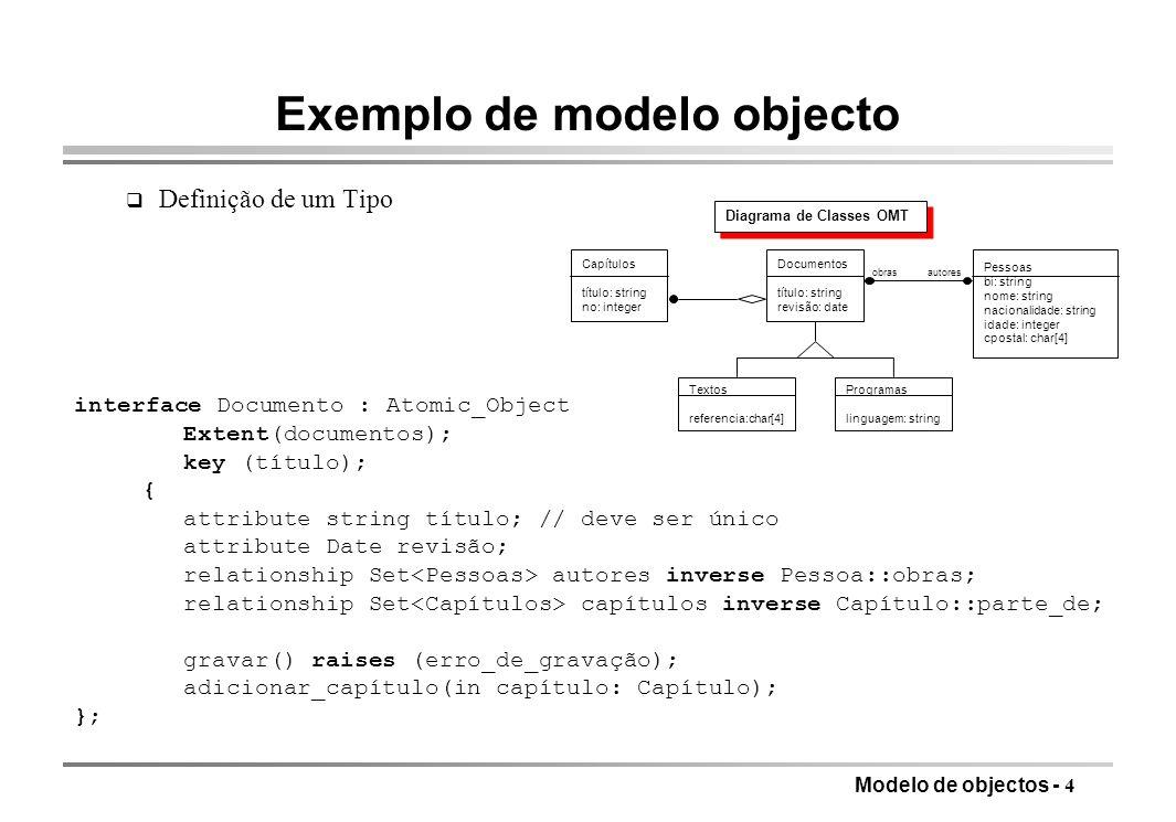 Exemplo de modelo objecto