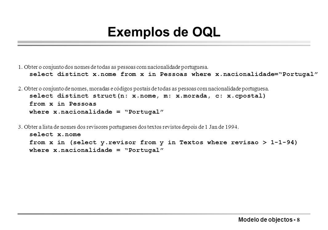 Exemplos de OQL 1. Obter o conjunto dos nomes de todas as pessoas com nacionalidade portuguesa.