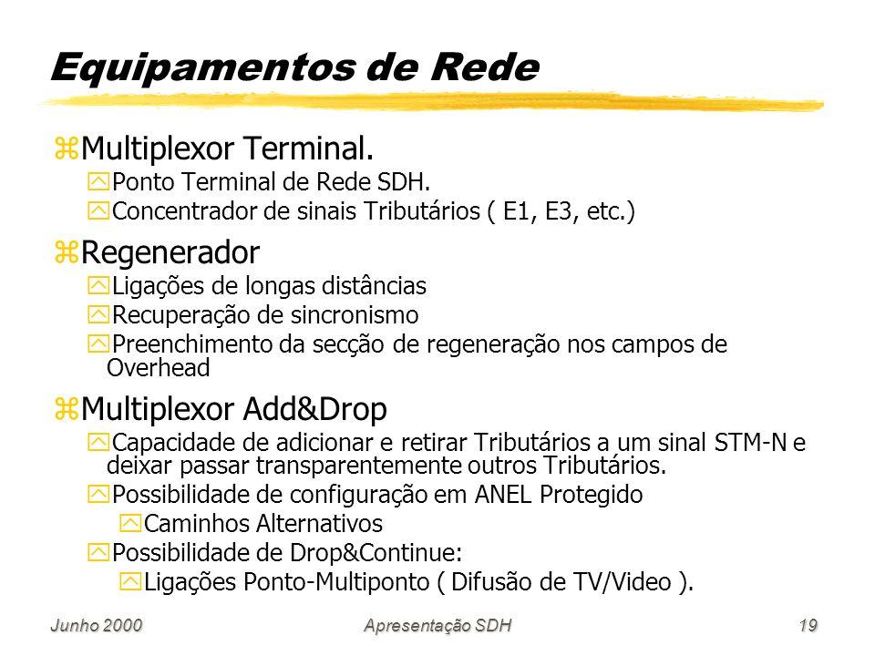 Equipamentos de Rede Multiplexor Terminal. Regenerador