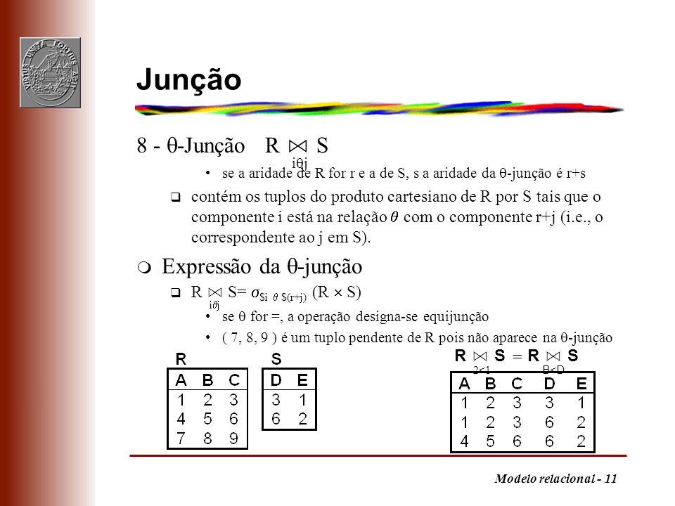 Junção 8 - -Junção R ⋈ S ij Expressão da -junção