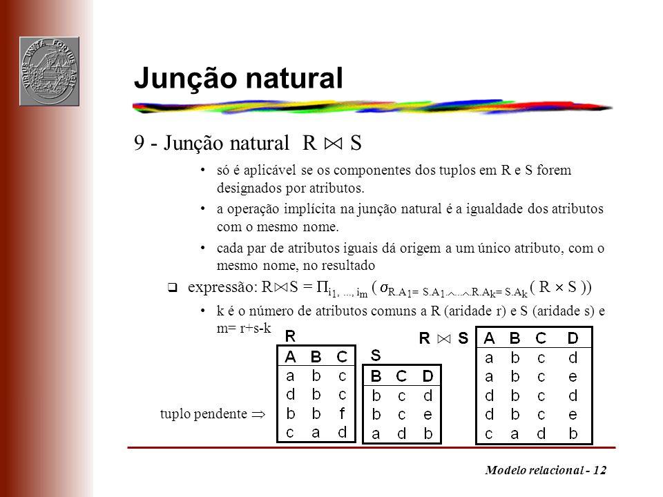 Junção natural 9 - Junção natural R ⋈ S