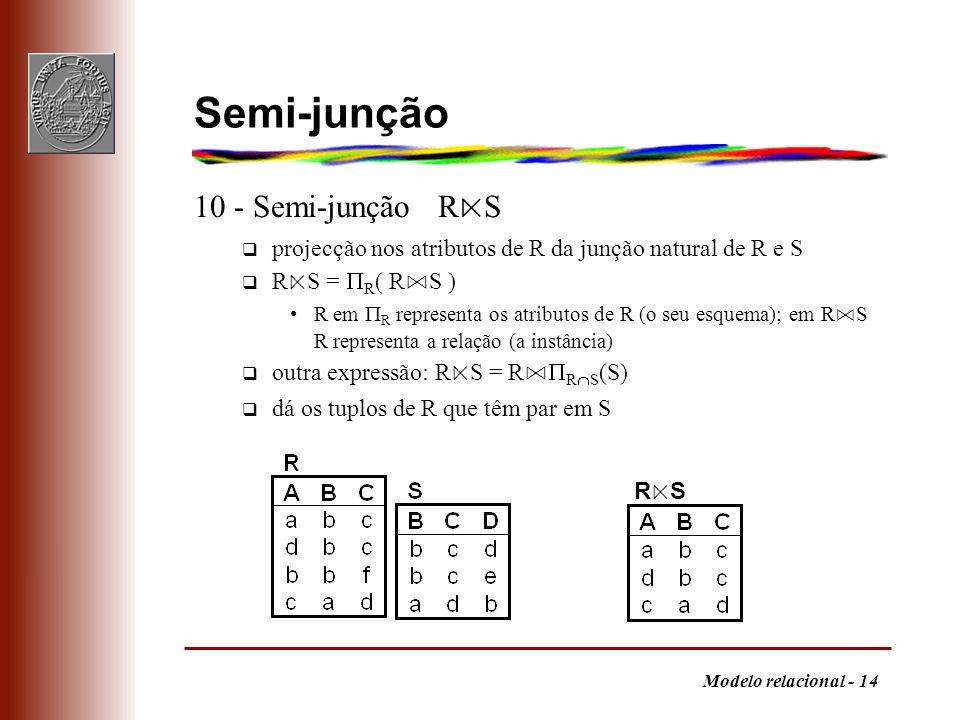Semi-junção 10 - Semi-junção R⋉S