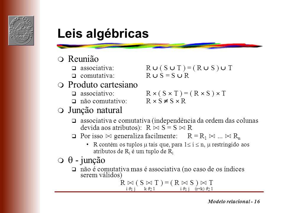 Leis algébricas Reunião Produto cartesiano Junção natural  - junção