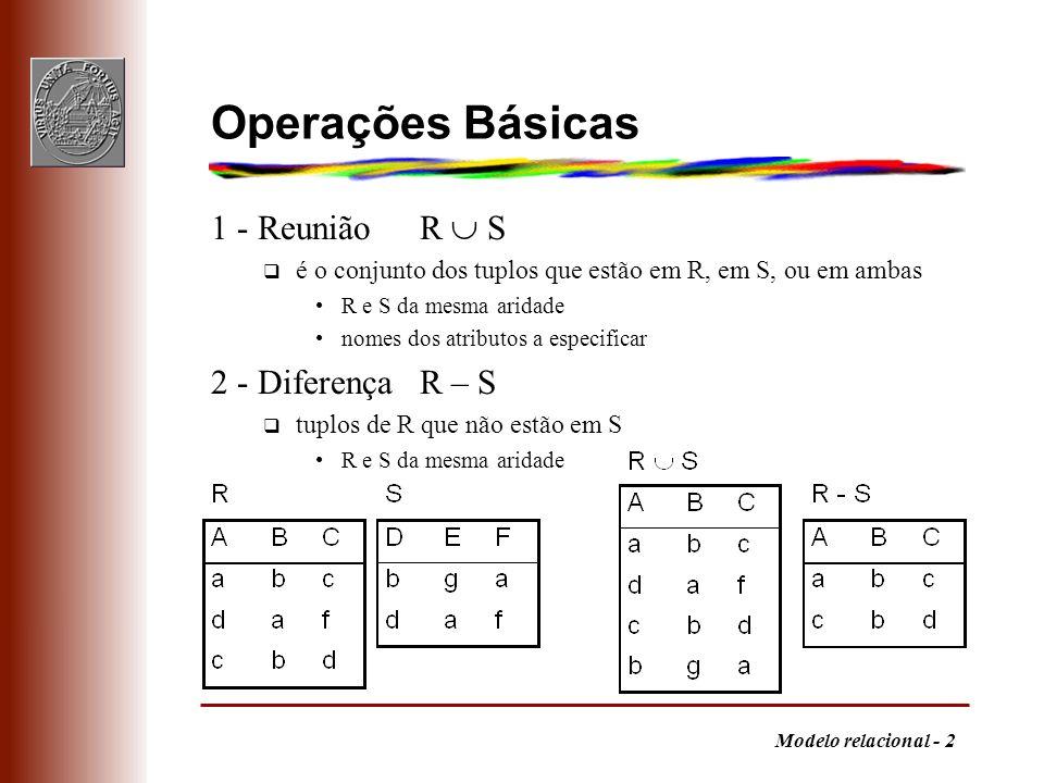 Operações Básicas 1 - Reunião R  S 2 - Diferença R – S