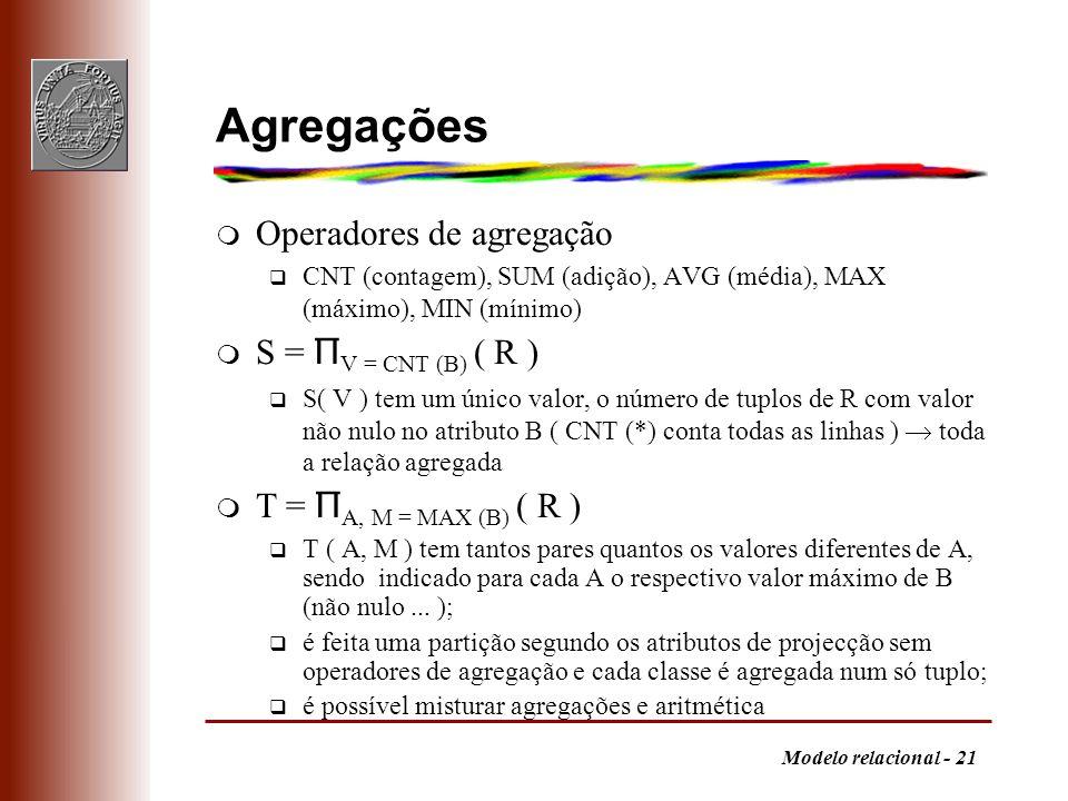 Agregações Operadores de agregação S = ΠV = CNT (B) ( R )