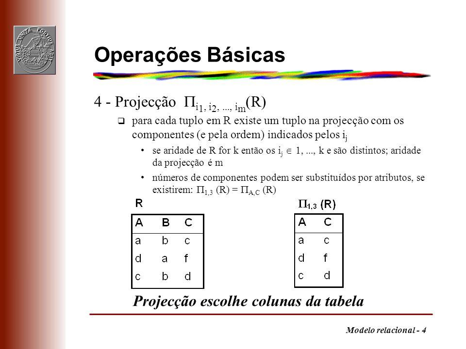Operações Básicas 4 - Projecção i1, i2, ..., im(R)