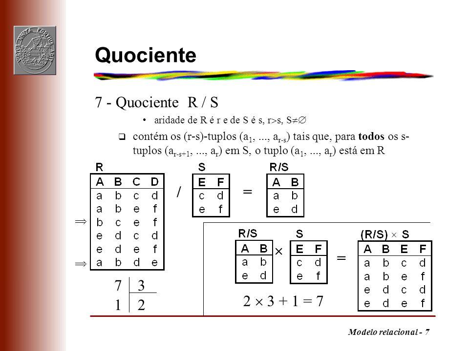 Quociente 7 - Quociente R / S / =  = 7 3 2  3 + 1 = 7 1 2