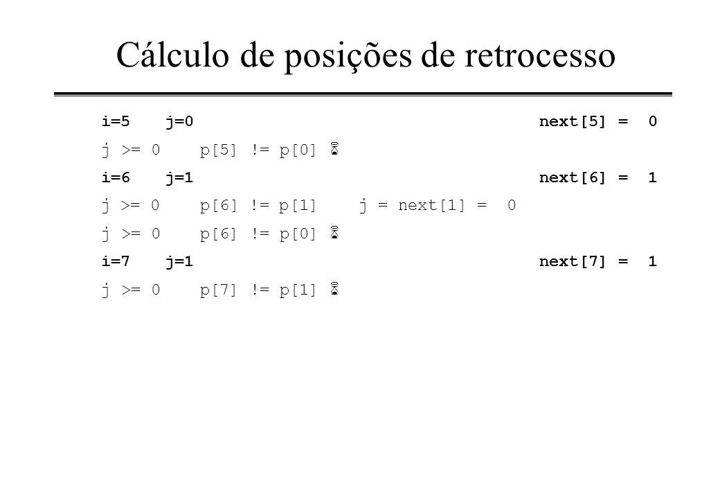 Cálculo de posições de retrocesso