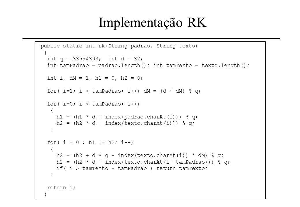 Implementação RK public static int rk(String padrao, String texto) {