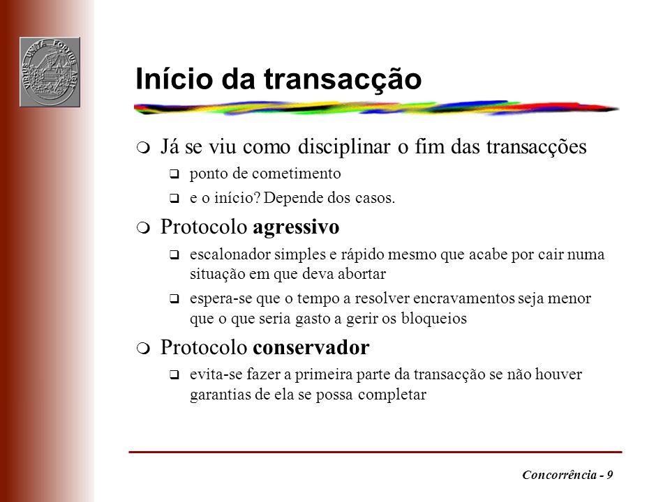 Início da transacção Já se viu como disciplinar o fim das transacções