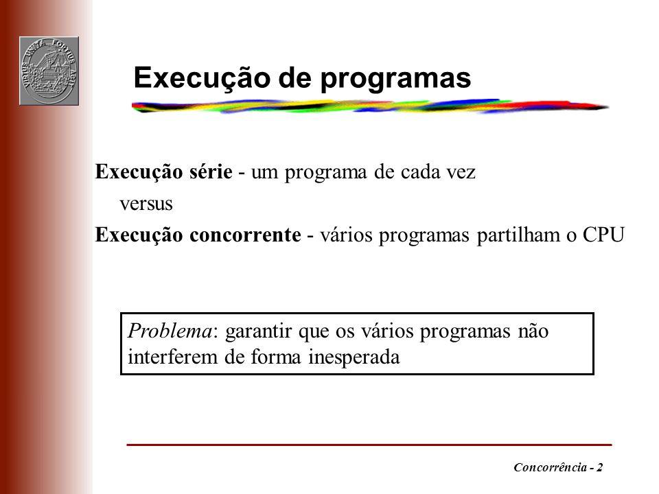 Execução de programas Execução série - um programa de cada vez versus