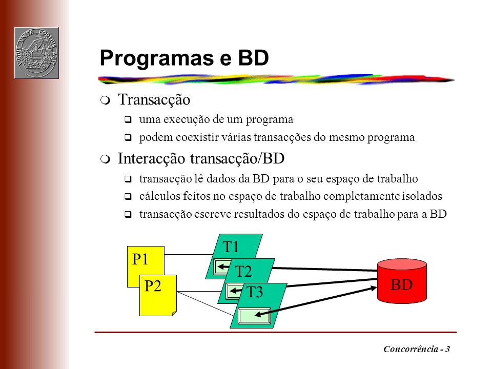 Programas e BD Transacção Interacção transacção/BD T1 P1 T2 BD P2 T3